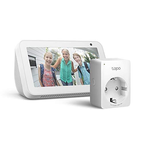 Echo Show 5 - Bianco +Tapo P100 Presa intelligente Wi-Fi,...