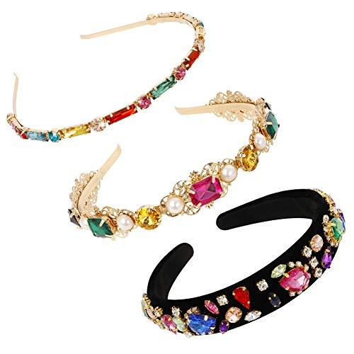 Gitua 3 Stück Strass Haarbänder, Bunte Kristall Stirnband Anti-Rutsch Metall Haarreifen für Mädchen Frauen Geburtstag Weihnachten Hochzeit Party