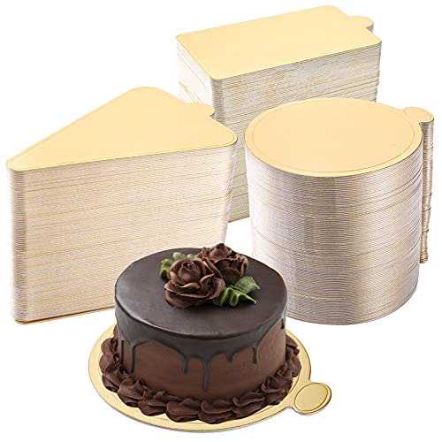 """Dicunoy 300PCS Mini Cake Boards, 3"""" Gold Circle Paper Cupcake Dessert Displays Base Tray, Mousse Cake Board Plates for Parties, Wedding, Birthday, Restaurant Buffet"""