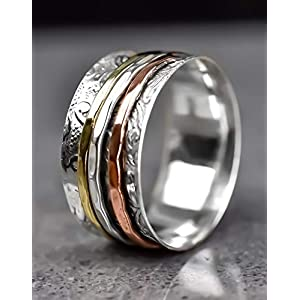 925 Sterling Silber Drehring – Meditationsring – Bicolor – erhältlich in verschiedenen Ringgrößen