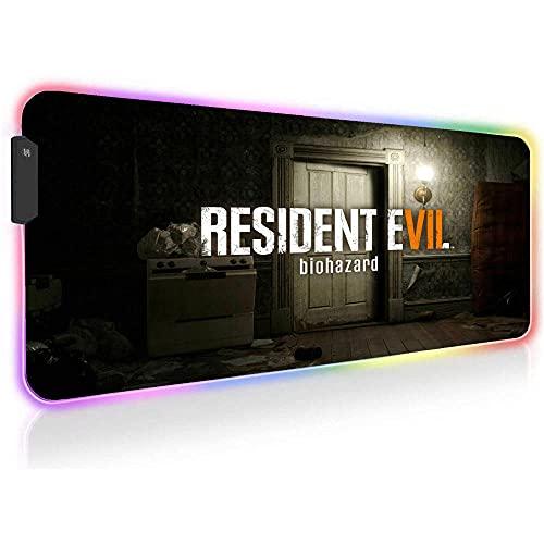 Resident Evil Alfombrillas de ratón para Juegos RGB Computer Gamer Alfombrilla Antideslizante de Goma LED Grande Alfombrilla Teclado para Ordenador Portátil 35,43 X 15,74 X0,16 Pulgadas