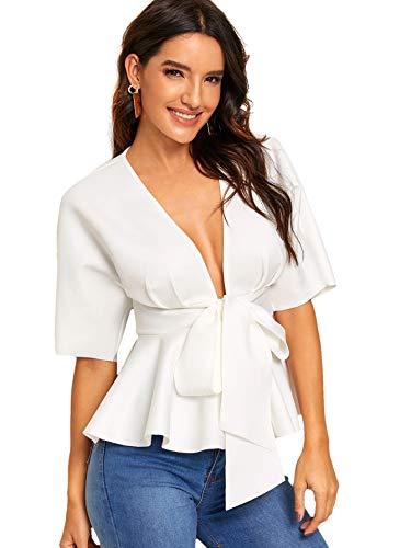 SheIn Women's Plunge V Neck Short Sleeve Ruffle Hem Tie Front Peplum Top Blouses White Medium