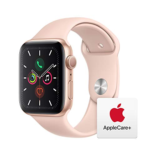 Apple Watch Series 5 (GPS, 44mm) - Gold Aluminum Case with Pink Sport Band with AppleCare+ Bundle