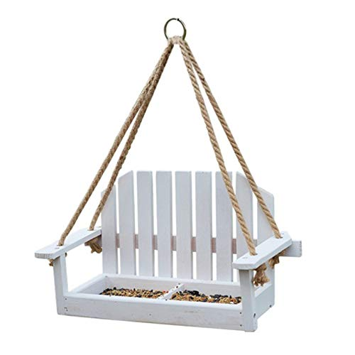 jtxqy Swing Seat Bird Feeder,Hanging Birds Feeder Station Wooden Perch Birds Table Garden Bench Swing Seat Hanging for Outdoors Nut Bird Feeding Station