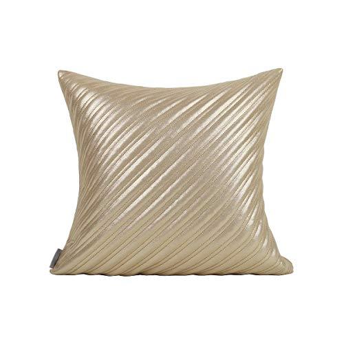 Zierkissenbezüge Deko Kissen Moderner Luxus Ledersofa Schlafzimmer Wohnzimmer Dekoration Quadratischen Kissenbezug Golden 45 x 45 cm (Einschließlich Kern)