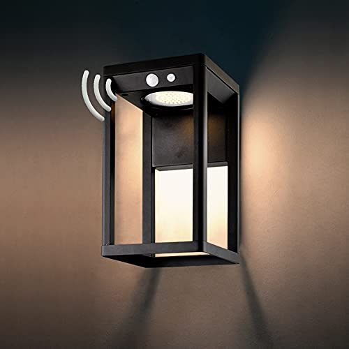 BRIMMEL Outdoor Solar Wall Light 60W with Motion Sensor Aluminum Wall Sconce Waterproof Wireless Landscaping Garden Porch Light for Lawn Patio Yard Driveway 10H Super Bright, Black, SG601040