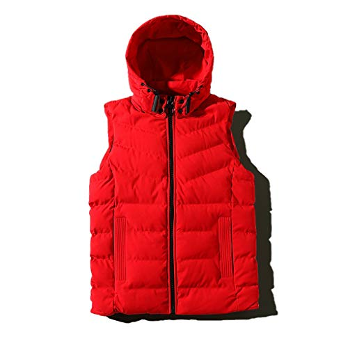 ZRJ Soft Men's Outdoor Stand Collar Vest Winter Hooded Coat Sleeveless Jacket Thick Warm for Casual Work Travel Outdoor Fishing (Color : Red, Size : Medium)