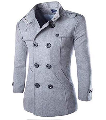 Adelina wollen mantel heren twee rijen met ritssluiting slim jongens mantel kort fit warme herfst lange mouwen met capuchon cabanjas Peacoat wintermantel