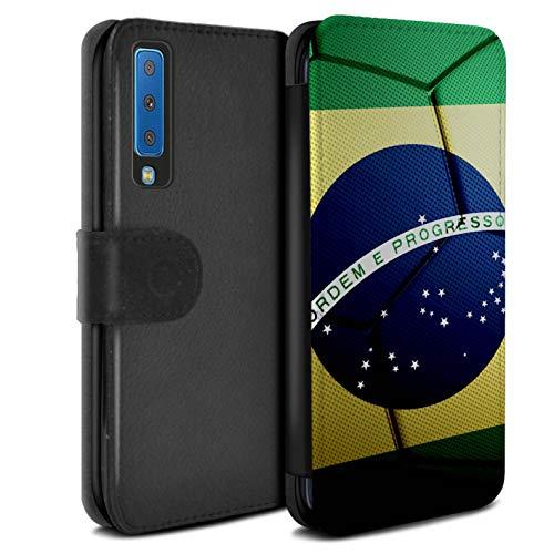 eSwish PU-Leder Hülle/Case/Tasche/Cover für Samsung Galaxy A7 2018/A750 / Brasilien Muster/Fußball Nationen Kollektion