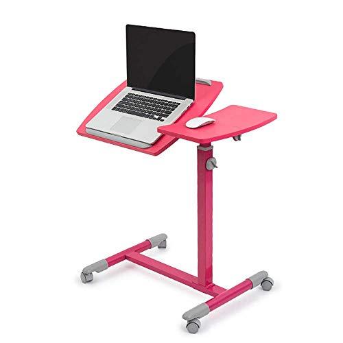 AI LI WEI Produkty gospodarstwa domowego/meble regulowany stojak na laptopa biurko nadstawka sofa stół regulowana wysokość stabilny stół na laptopa notebook komputer stół z kółkami (kolor: Różowy) (Kolor: Różowy)