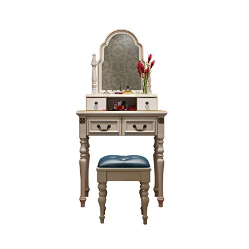 Lowest Price! HIZLJJ Vanity Set with Oval Mirror & Cushioned Stool, Makeup Dressing Table Large Stor...