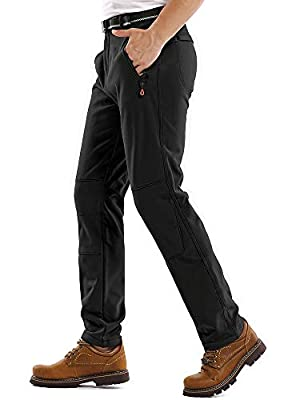 Jessie Kidden Hiking Pants Mens,Waterproof Fleece Ski Snow Fish Insulated Soft Shell Outdoor Winter Pants #801M-Black,36