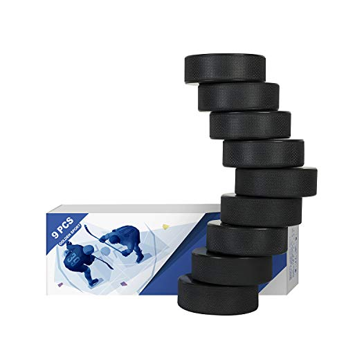 """Golden Sport Ice Hockey Pucks, 9pcs, Official Regulation, for Practicing and Classic Training, Diameter 3"""", Thickness 1"""", 6oz, Black"""
