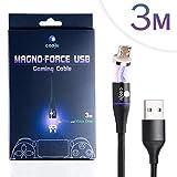 COOJU Magno-Force Micro USB magnetisches Daten- und Ladekabel für PS4, Xbox One und PC Gaming, 3m Länge, Premium Qualität mit hochwertiger Nylon Ummantelung für schnelles Laden und Synchronisieren