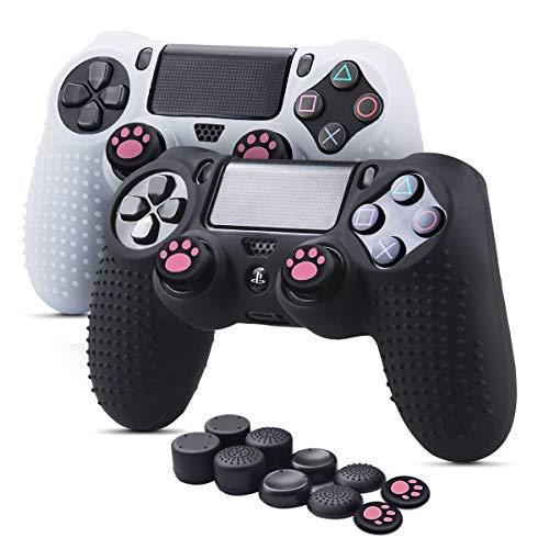 6amLifestyle PS4 Controller Skin (Schwarz + Weiß, 2 Controller Skins + 10 Daumengriffe) Anti-Rutsch-Silikonhülle Schutzhülle für DualShock 4 PS4 / PS4 Slim / PS4 Pro Controller