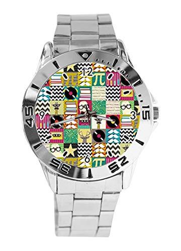 Cartoon-Giraffe Musik-Disc Schnurrbart Chevron Pi Book Star Custom Design Analog Armbanduhr Quarz Silber Zifferblatt Klassische Edelstahl-Band Damen Herren Armbanduhr