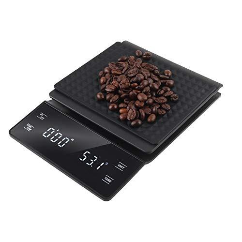 bemece Kaffeewaage mit Timer, Multifunktionale Küchenwaage mit LED-Anzeige, 3kg/0.1g Digital Kaffee Skala Lebensmittelwaage