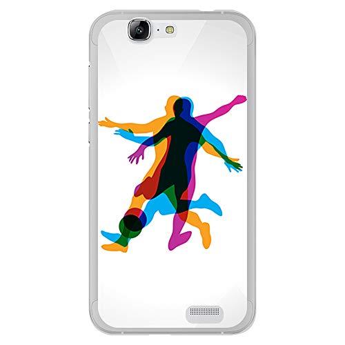 BJJ SHOP Funda Transparente para [ Huawei Ascend G7 ], Carcasa de Silicona Flexible TPU, diseño: Jugador de Futbol en Movimiento 3D
