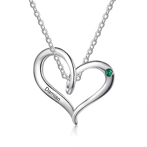 Band new Collar de mujer personalizado con 1-5 piedras de nacimiento Tu nombre Colgante de promesa de corazón para tu querida familia Madre Abuela Día de San Valentín (1 name)