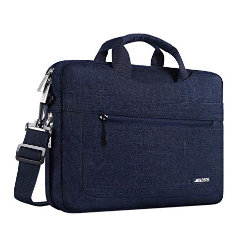 MOSISO Laptop Shoulder Bag Compatible with 13-13.3 inch MacBook Pro, MacBook Air, Notebook Computer, Polyester Messenger Carrying Briefcase Sleeve with Adjustable Depth at Bottom, Navy Blue