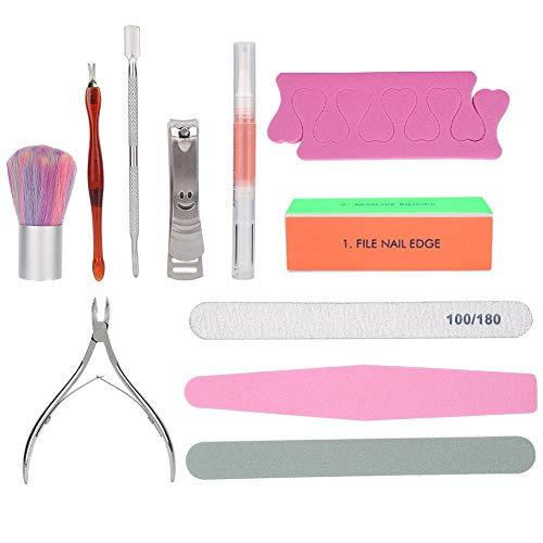 huaer2020 Ensemble d'outils de manucure, 11pcs Outil de kit de toilettage d'ongles de pédicure de pédicure de manucure multifonctionnelle avec Sac de Rangement(11PCS)