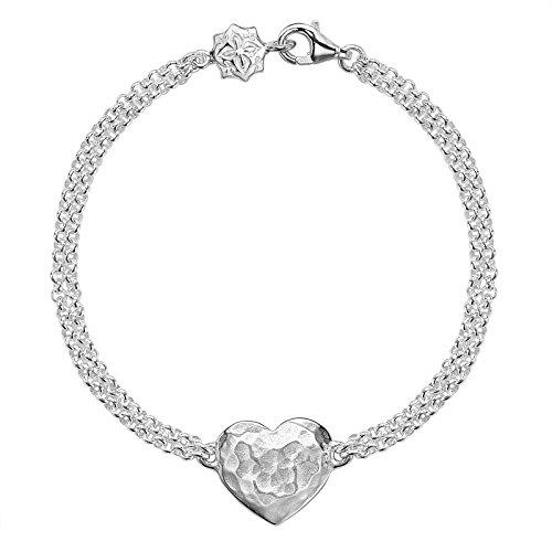 Dower & Hall Cherish Silver Armband zweireihig, 18,5cm, mit flachem Herzelement, gravierbarer