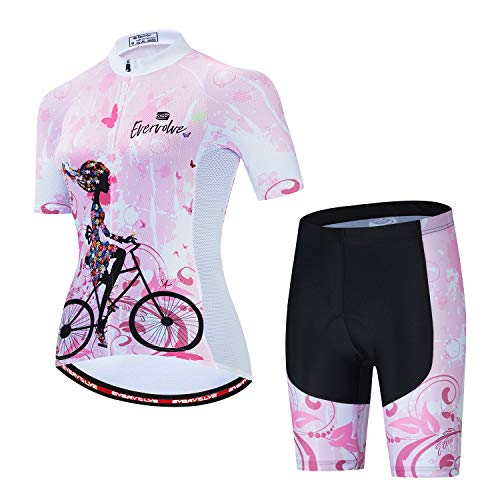 Evervolve Women's Cycling Jersey Set Short Sleeve Bike Top Bicycle Padded Shorts(3XL,Pink Lady)