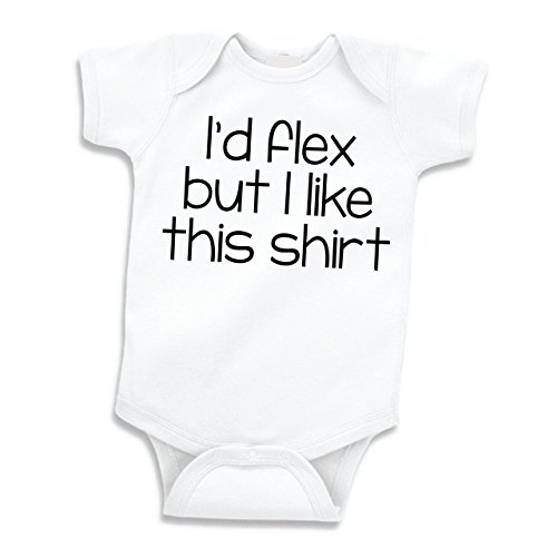 Bump and Beyond Designs I'd Flex But I Like This Shirt Funny Baby Clothes Cute Weightlifting Bodysuit (6-12 Months) Black