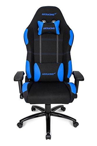 AKRACING Core EX Gaming Stuhl mit 5 Jahren Herstellergarantie für PC/PS4/XBOX/Nintendo, Schreibtischstuhl mit Kissen, Stoffbezug - Schwarz/Blau