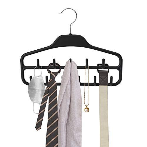 ROSOS Belt Hanger Holder Organizer 2 Pack Non Slip Belt Rack with 360 Degree Swivel Hooks Sturdy Tie Hanger for Closets Storage Ideal for Belts Ties Tank Tops Scarves and Masks Black