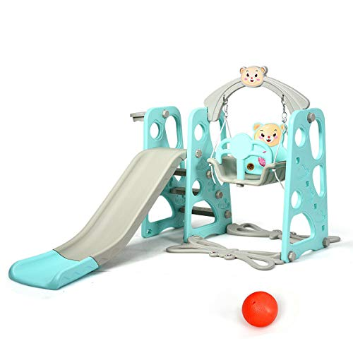 For Sale! Outdoor Toys Kid Swings, Slides, with Basketball Hoop and Football Gate 3 in 1 Design Foot...