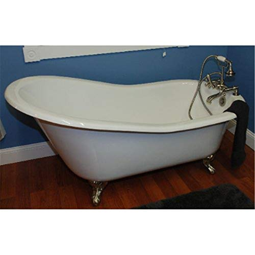 Cambridge Plumbing Cast Iron Slipper Clawfoot Tub 61' X 30' with No Faucet Drillings and Oil Rubbed Bronze Feet