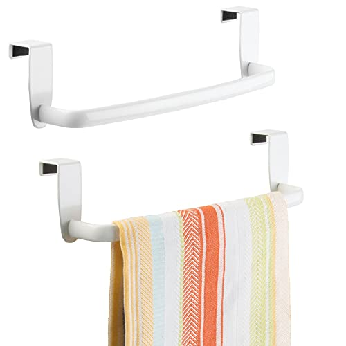 mDesign Modern Kitchen Over Cabinet Strong Steel Towel Bar Rack - Hang on Inside or Outside of Doors - Storage and Organization for Hand, Dish, Tea Towels - 9.2 Wide, 2 Pack - White