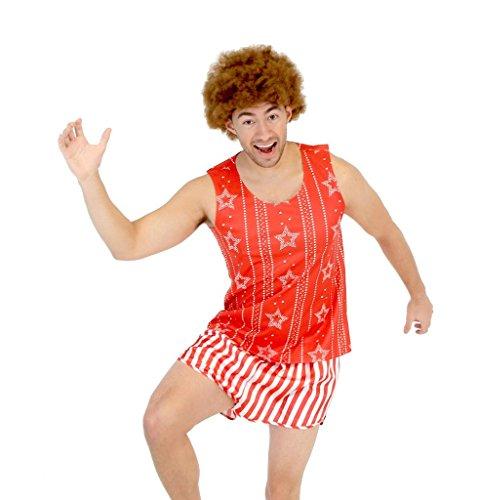 Richard Simmons Juego de disfraz con peluca afro de aerbic - Rojo -