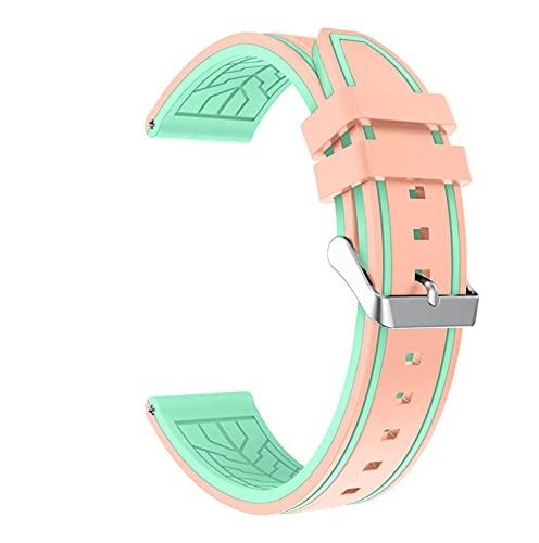 LXFFCOK Correa de repuesto de silicona de 22 mm para Galaxy Watch 3 de 45 mm (color de la correa: rosa, verde menta, ancho de la correa: Amazfit Stratos 2)