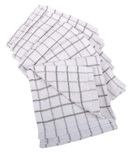 KAF Home Pantry 100% Cotton Checkered Grid Dish Cloths | Set of 6, 12 x 12 Inches | Absorbent and Machine Washable | Perfect for Cleaning Counters, and Any Household Spills - Gray Idaho