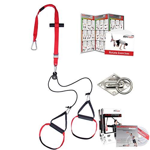 Variosling® Sling Trainer mit Umlenkrolle inkl. 2X Schlingentrainer DVD, Türanker, Poster Made IN Germany (Rotate Paket mit Halterung + mehr DVDs)