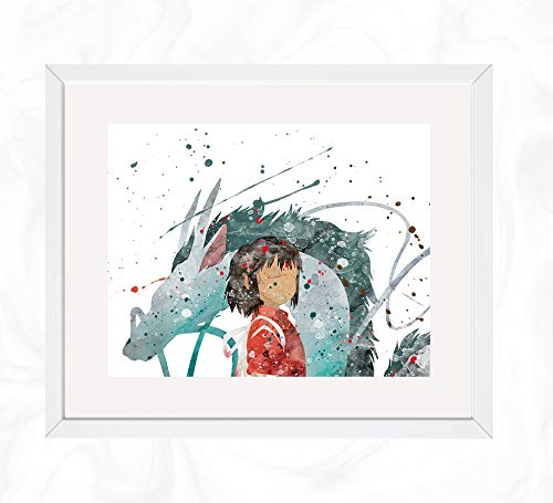 Amazon Com Chihirio And Haku Prints Spirited Away Watercolor Nursery Wall Poster Holiday Gift Kids And Children Artworks Digital Illustration Art Handmade
