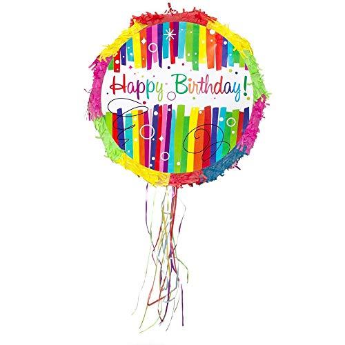 Party Factory Pinata Happy Birthday Bunt Kinder Geburtstag Schlag-Pinata 44 x 9 x 44 cm Dekoration Geburtstagsdeko