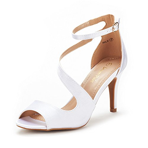 DREAM PAIRS Women's NILE White Satin Fashion Stilettos Open Toe Pump Heel Sandals Size 11 B(M) US