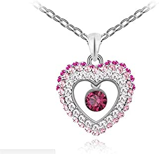 18K White Gold Plated Double Heart Crystal Pendant Fashion Necklace for Women - Made with Swarovski Elements - Austria Cry...