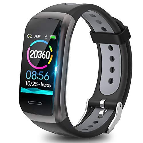 TagoBee Fitness Tracker Fitness Armband TB14 IP68 Wasserdichtes Smart Band 1.14'' LCD Farbbildschirm Fitnessband mit Pulsmesser kompatibel mit Android und iOS Black