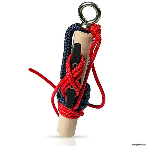 Knotenübungsgerät - Bootsführerschein Binnen Segeln - mit Klampe, Seilen und Anleitung - Knoten Lernen leicht gemacht