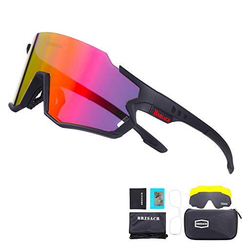 BRZSACR Gafas de Sol Deportivas,CrazyFire UV 400 Protección Gafas Deportivas Polarizadas con 3 Set De Lentes Intercambiables para Hombre Mujer. (Negro Rojo)