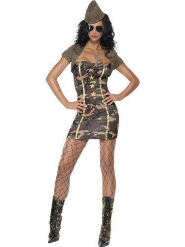 Smiffys Costume de major scandaleux, camouflage, avec robe, châle et casquette