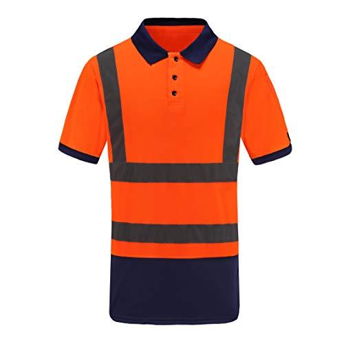 Warnschutz T-Shirt Warnschutzshirt Warnshirt warn Poloshirt Herren(Orange, XL)