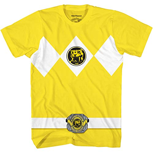 Mighty Morphin Power Rangers Red Blue Yellow Pink Green Black White Blue Costume T-Shirt (Yellow, X-Large)