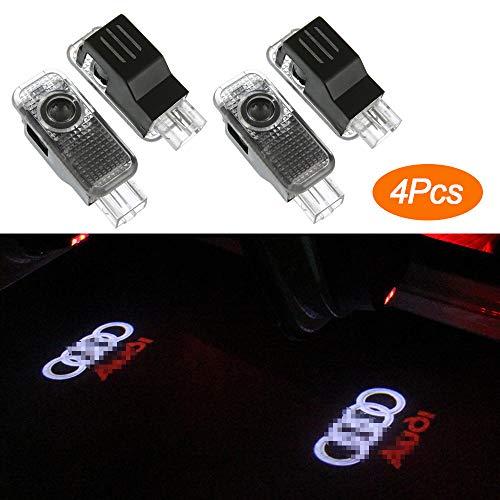 HosDevice 4 Pack Autotür Logo Licht, LED Auto Projektor Logo Ghost Shadow licht türbeleuchtung Willkommen Lampe für Audi A8 A7 A6 A5 A4 A3 A1 R8 TT Q7 Q5 Q3