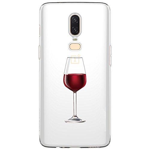 Caler® - Carcasa compatible para OnePlus 6, antigolpes, transparente, delgada, de silicona antigolpes, protección con diseño de flores y gato, TPU para OnePlus 6 (copa de vino rojo)