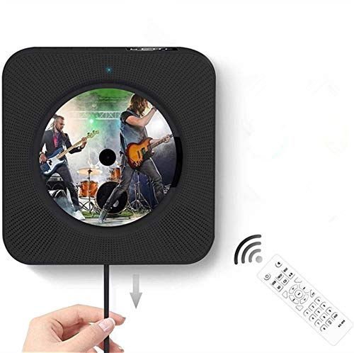 Milu deer Lettore CD Montato a Parete, Lettore CD Portatile con Bluetooth, Altoparlanti HiFi integrati a Muro, Home Audio Boombox con Telecomando Radio FM USB MP3 3.5mm (Color : Black)